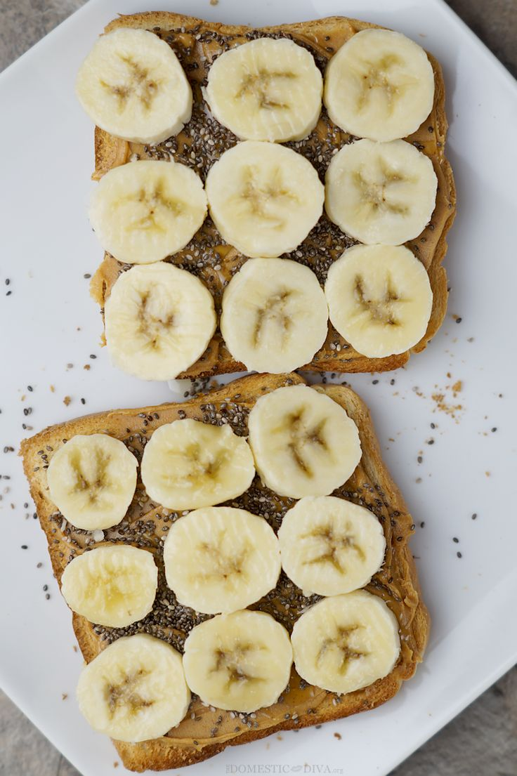 13. Peanut Butter and Banana Chia Seed Toast http://greatist.com/fitness/50-awesome-pre-and-post-workout-snacks