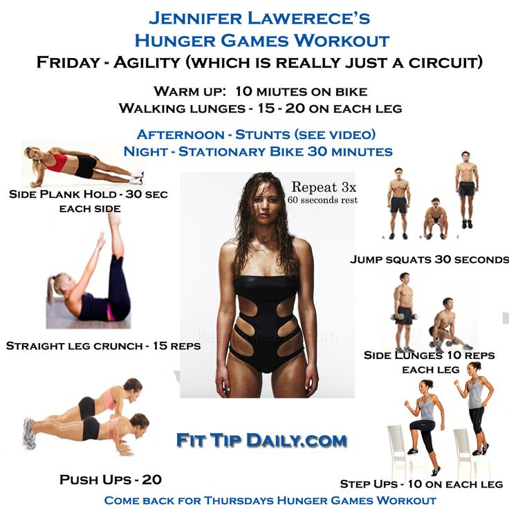 Jennifer Lawrence's workout routine- Cardio Warm-up: Cardio warm up on stationary bike (10 minutes) Lower Body Warm Up: Walking Lunges (15-20 reps per leg) Jump Squats (30 secs on / 30 secs rest) Lateral Lunges (10 reps each leg) Step Ups onto bench (10 reps each leg) Pushups (20 reps, use knees if necessary) Straight-Leg Sit-Ups (15 reps) Side Planks (30 secs hold) Repeat each exercise 3 more times (rest 60 secs between sets) Medicine Ball Workout.    Evening – (30 Minutes on a stationary…