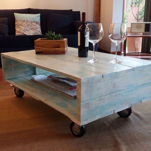 Mesa de centro hecha con madera de palets