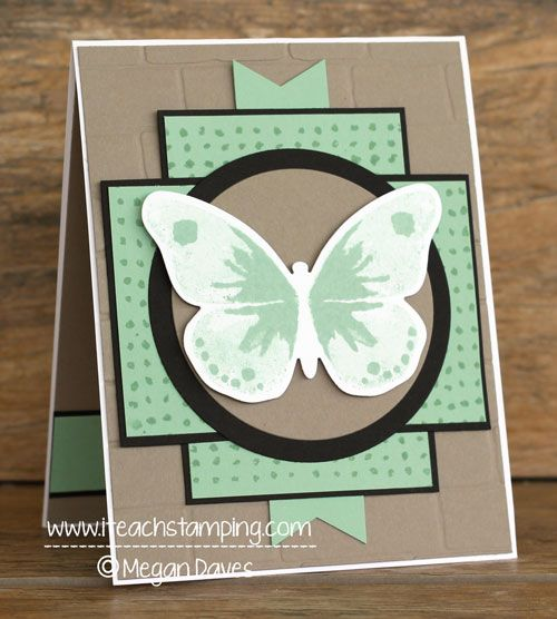 hand crafted card using Watercolor Wings ... luv the layering design ... mint + taupe with black mats ... Stampin' Up!