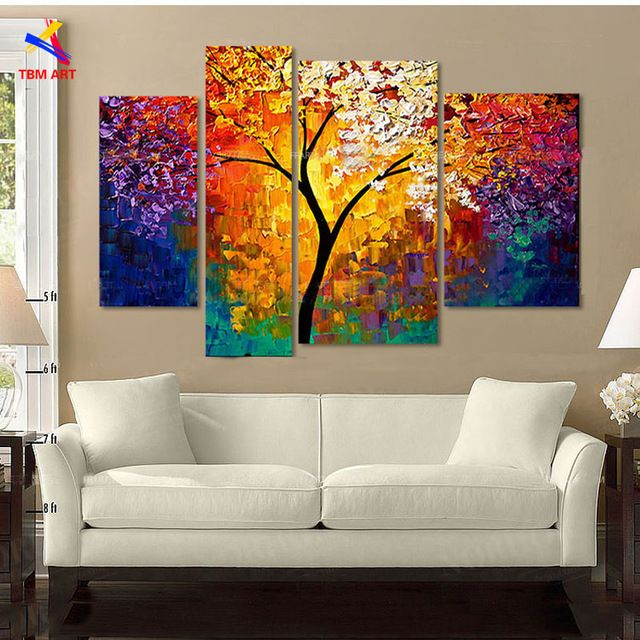 Bright Life Tree Picture Painting Handmade Modern Abstract Oil Painting on  Canvas Wall Art Home Decoration