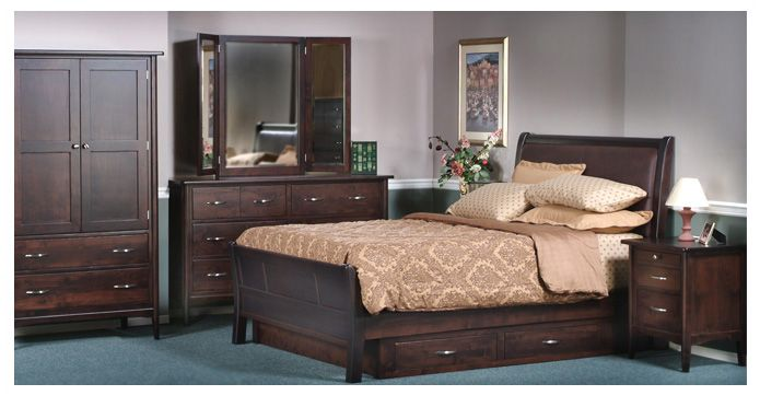 Sophia Bedroom Collection. Available in six different stains of wood. For more information visit www.portfoliointeriors.ca/brand/canadian-wood-manufacturing