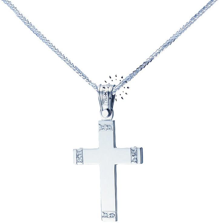 Σταυρός 14 Καράτια Λευκόχρυσο με Ζιργκόν ΤΡΙΑΝΤΟΣ  495€  http://www.kosmima.gr/product_info.php?products_id=16787