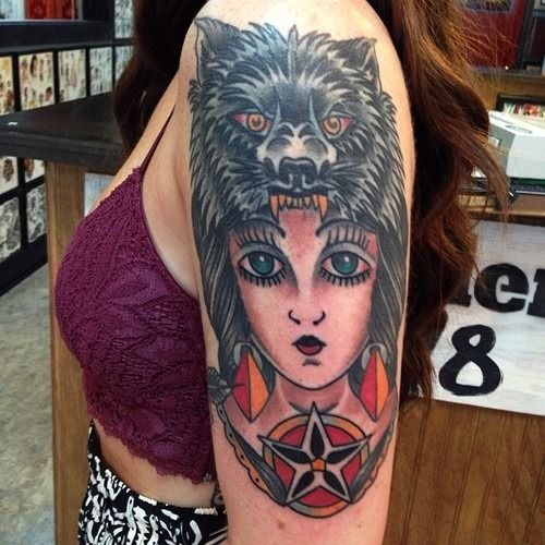 Arm Wolf Girl Tattoo For Women