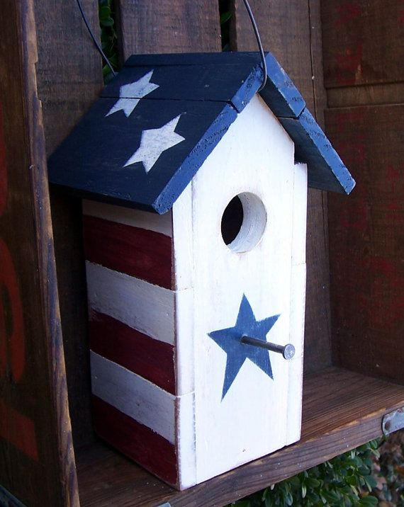 Rustic Patriotic Birdhouse Bird House Plans Bird House