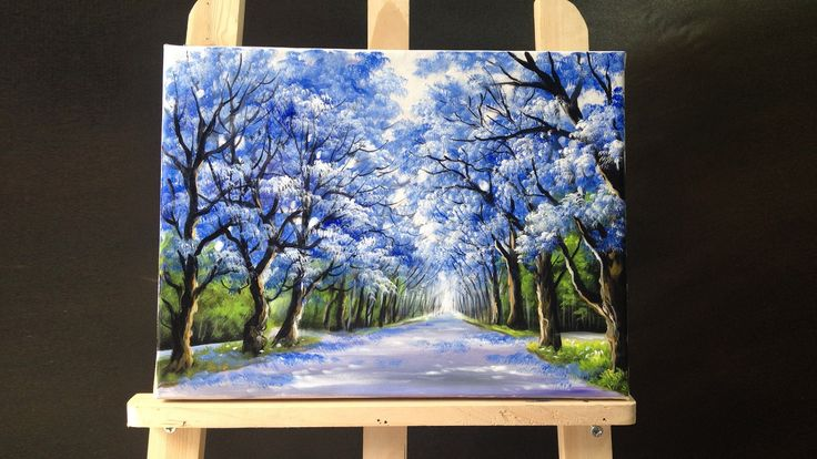 49:05 Pretty tree line road acrylic painting