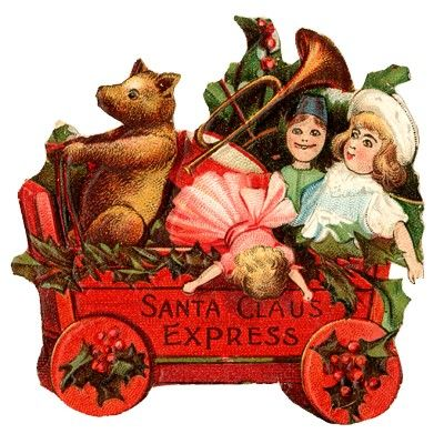 Santa Claus Express wooden wagon with toys Victorian scrap                                                    I love Christmas images Board