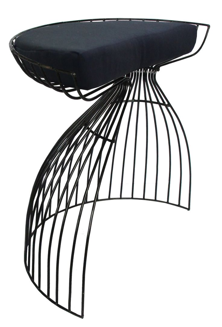 NEW IN: Semi-crescent wire stools in BLACK! Waterproof including cushion. From $130RRP AUD.  http://www.philbee.com.au/decor/egg-iron-chair-with-cushion.html