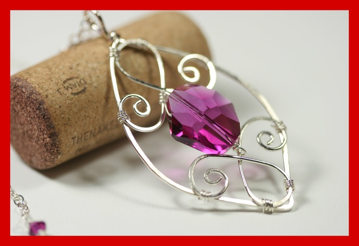 Purple Swarovski Necklace Wire Wrapped Jewelry Handmade Sterling Silver Jewelry Handmade Swarovski Crystal Jewelry Swarovski Pendant. $60.00, via Etsy.