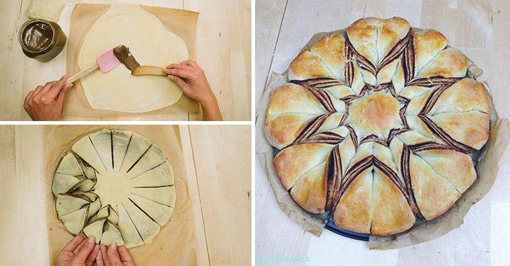 Het ziet er niet alleen mooi uit, het belooft ook nog eens ontzettend lekker te zijn: gevlochten brood met Nutella!