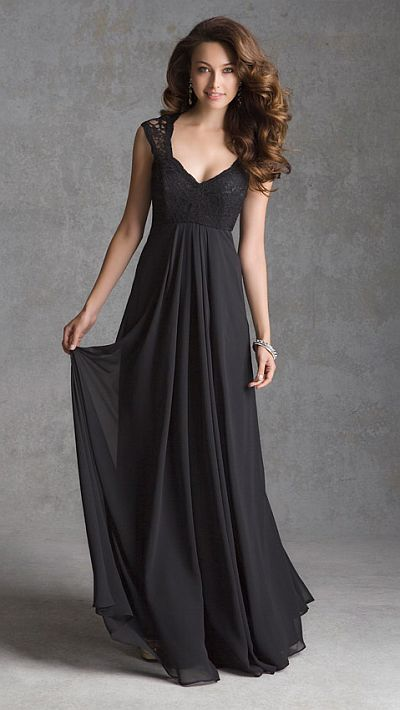 Cap sleeve Lace and Chiffon long bridesmaid dress has lace bodice and chiffon skirt with illusion back.LOVE THIS