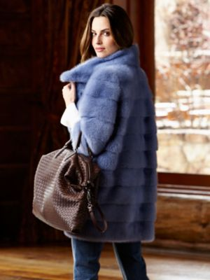 Vala horizon blue mink coat