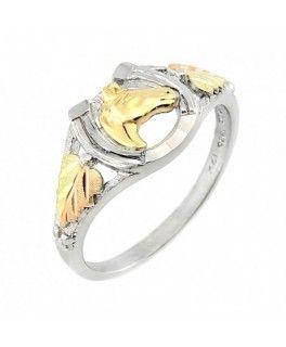 Black Hills Ezüst és 12K Arany Lófejes Lópatkó Gyűrű