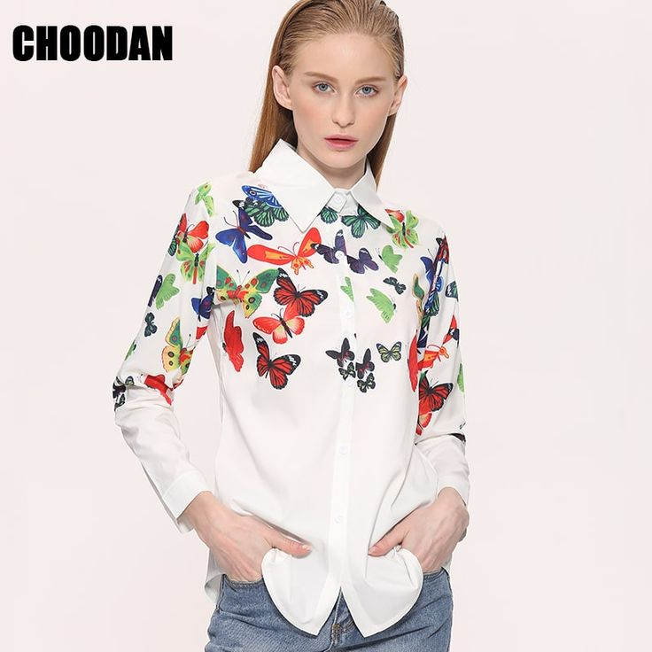 White Blouse Shirt Elegant Floral/Butterfly Print //Price: $14.95 & FREE Shipping //     #stylish