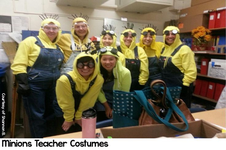 Minions Halloween costumes for teachers.  Easy to make and easy to put on for…