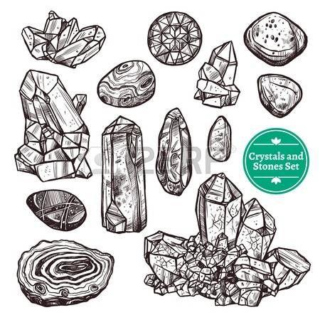 kameny: Ručně tažené monochromatické ikony nastavit křišťálových kamenů skály s bílým pozadím vektorové ilustrace
