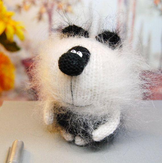 Sale PANDA BEAR Amigurumi Panda Bear Knit Mohair Panda Bear Handmade Miniature Panda Bear Little Panda Bear Mohair Wool Panda Bear