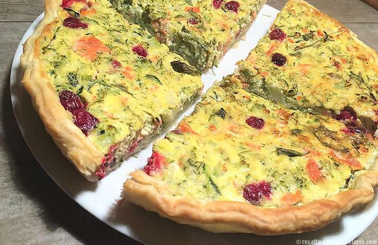 Tarte Saumon Courgettes Brocolis et Cranberry