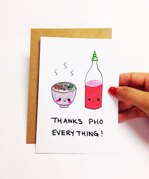 Thank you pho everything.  ♥ Design is hand drawn by yours truly using good ol pencil crayons, then scanned and printed on high quality cardstock