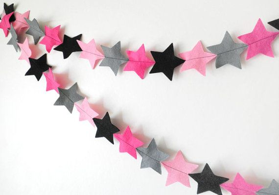 Punk Rock Star Garland - made with wool blend felt in pink, black and grey colours, perfect for teen or tween bedroom