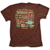 Features. Oh No is a sassy Cherished Girl t-shirt complete with cowboy boots to stomp out the devil.
