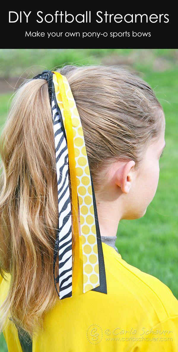 DIY Softball Hair Bows