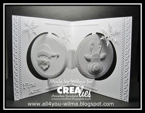 Wilma maakte deze elegante witte kerstkaart:  https://www.crealies.nl/detail/1939075/17-08-31-wilma.htm  http://crealies.blogspot.nl/2017/08/santa-claus-with-reindeer.html    Crealies stansen/dies:  Crealies Create A Card no. 11  Download CCAC no. 11 download 1  Decostripzz no. 04  Crea-Nest-Lies XXL no. 07  Crea-Nest-Lies XXL no. 69  Tekststans no. 19  Partz no. 21  Partz no. 22  Duo Dies no. 48  Duo Dies no. 49