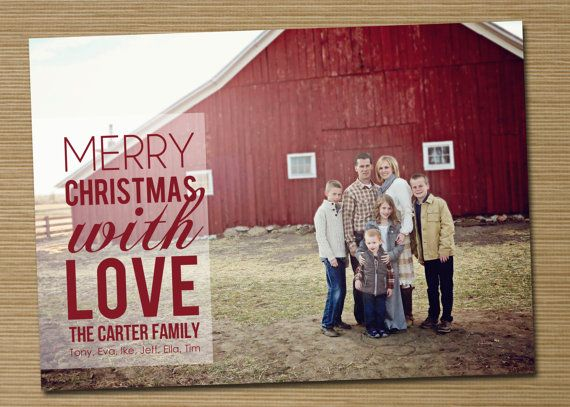 Photo Christmas Card Holiday Card PRINTABLE Merry by cardsetcetera