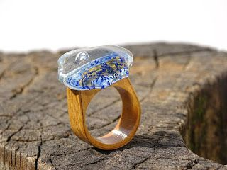 """Delicate Blue Ring"" wooden ring with fused glass designed and created in romanian studio glass Pro Ideas Trade SRL"