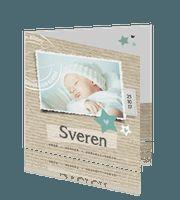 Gaaf en lief geboortekaart met foto en kraft jongen
