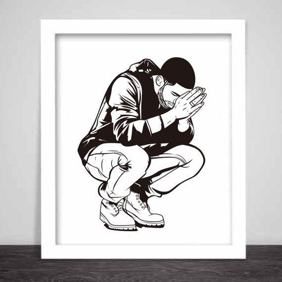 Drake 6 God Art Poster 3 sizes // Jumpman Hotline by BabesnGents