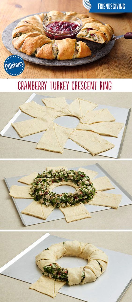 This Cranberry Turkey Crescent Ring will be the hit of your Friendsgiving! Crescents loaded with turkey, spinach and cranberries is super easy and perfect for sharing! Your friends will be so impressed they'll come back for seconds.