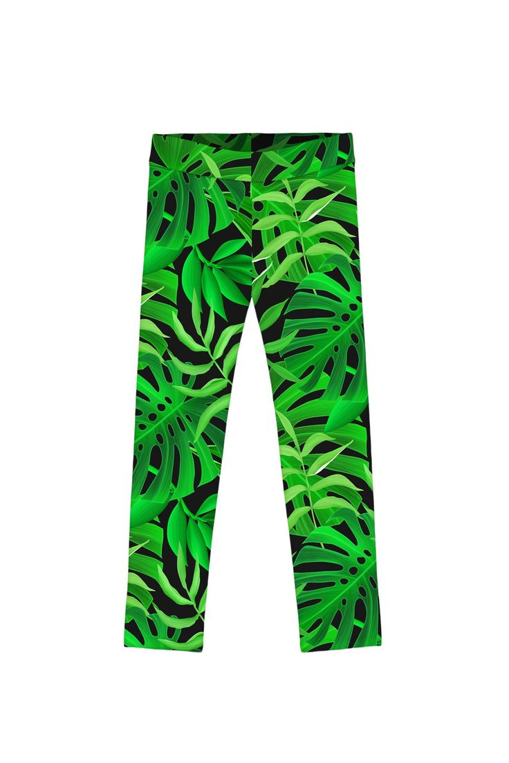 Jungle Night Lucy Green Tropical Print Cute Colorful Leggings - Girls