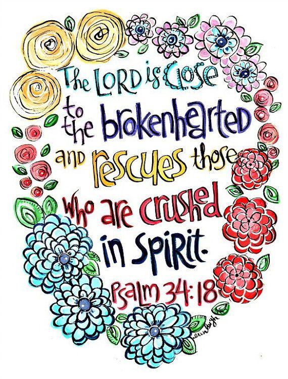 Inspirational art, Bible verse wall art, Scripture wall art, Christian art, Christian gift Art by Erin Leigh Psalm 34