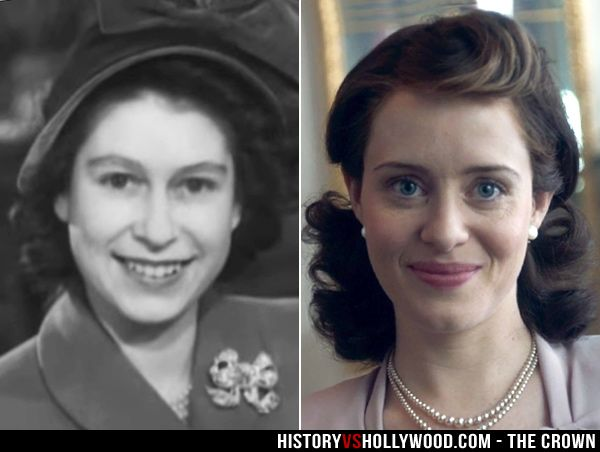 Queen Elizabeth II and Claire Foy as the Queen in the Netflix series The Crown. See pics of the cast vs. their real-life counterparts here: http://www.historyvshollywood.com/reelfaces/the-crown/