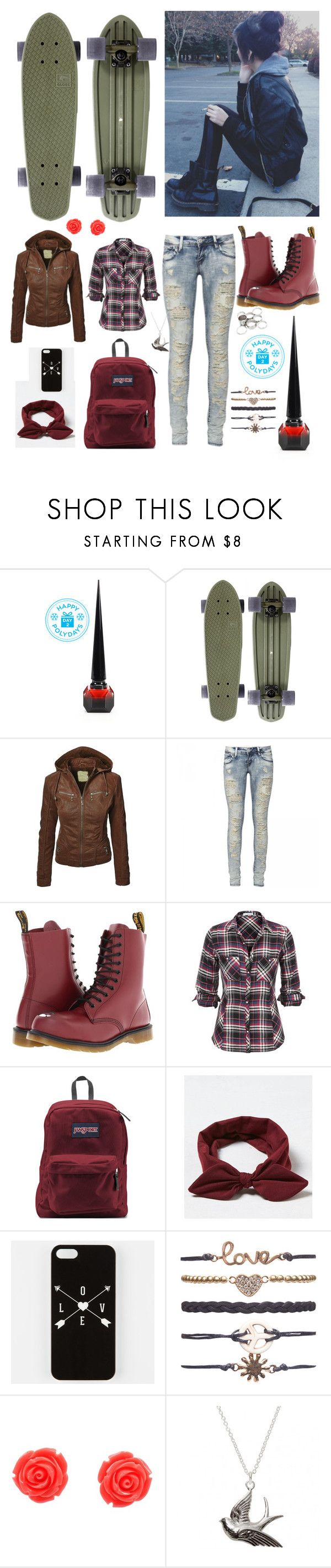 """Danny Smith"" by nationalnerd ❤ liked on Polyvore featuring Christian Louboutin, Dr. Martens, JanSport, American Eagle Outfitters, Wet Seal and Missguided"