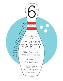 cute bowling invitation