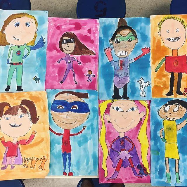 Second grade cartoonists are doing such fun superhero self-portraits!