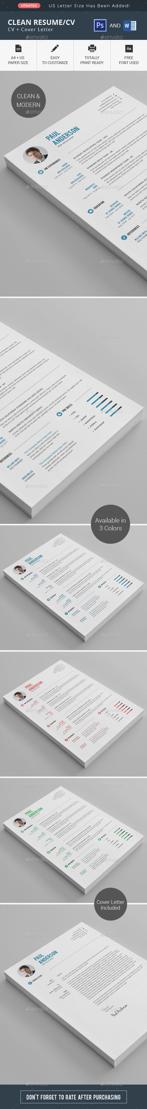 Clean Resume/CV - Resumes Stationery: Hi there, this is a Perfect Resume/CV Template for you! This template is Super Easy to Edit. Some Detailed Instructions will really help you to edit the files. You'll get the instructions in the Downloaded file. Hope it'll be helpful to make a Great Impression. #curriculum #resume #layout