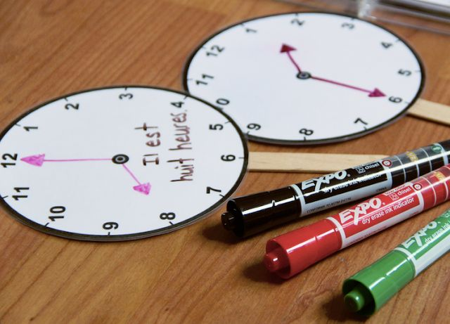 Laminate these analog clocks and you have an instant dry erase activity to practice time that students can use over and over. Template available for download.  #EXPOTeacherWin