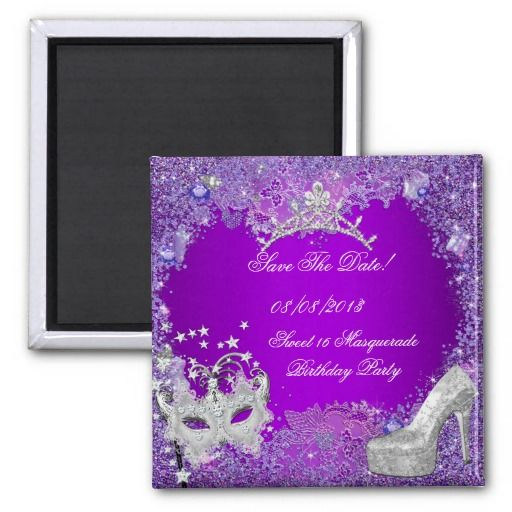 Save The Date Sweet 16 Masquerade Purple Pink Fridge Magnet #savethedate #sweet16 #purple #masquerade #mask #glitter #fridge #magnets #celebration #birthday #pink #invitations #silver