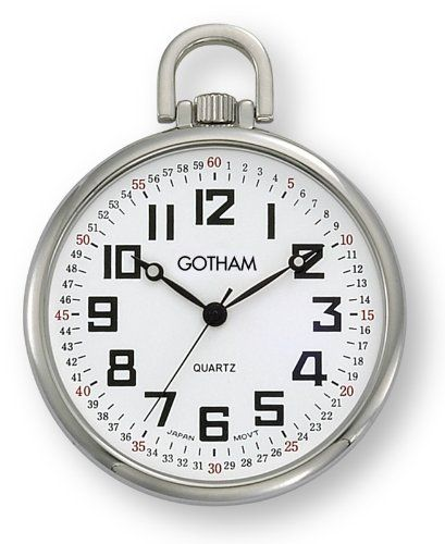 #antiquepocketwatches #menspocketwatches Gotham Men's Silver-Tone Ultra Thin Railroad Open Face Quartz Pocket Watch # GWC15022S Check https://www.carrywatches.com