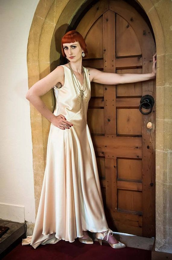 1930s ART DECO Vintage Wedding Dress Downton Abbey Great Gatsby Style