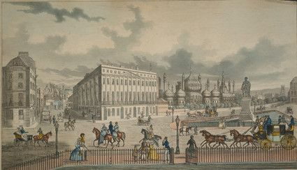 The Carriage Road, from the Castle Square to St James Street and Other Important Improvements on the Old Steine  Castle Square and North Street with St Nicholas Church on the hill. The statue of George IV and London to Brighton Stage coach right. J. Alexander on the door of the coach. Donaldson Taylor's shop to left of picture and the Blue coach station can be seen on the corner of East Street and North Street. The Spread Eagle Coach Office is on the corner of the the Steine and Castle…