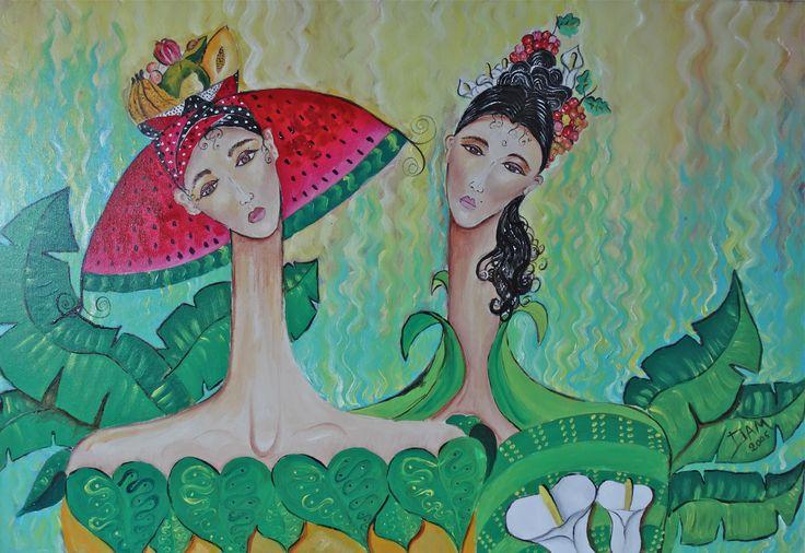 Mujeres y frutas del pintor DAM