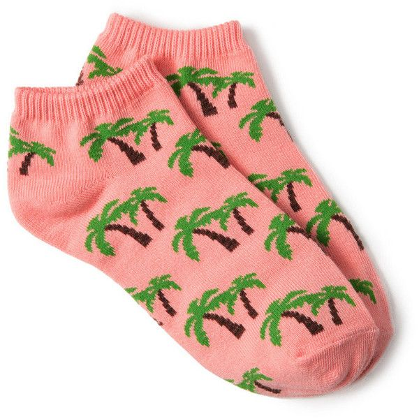 FOREVER 21 Tropical Palm Ankle Socks (5,13 BRL) ❤ liked on Polyvore featuring intimates, hosiery, socks, accessories, forever 21 socks, ankle socks, forever 21, tennis socks and short socks