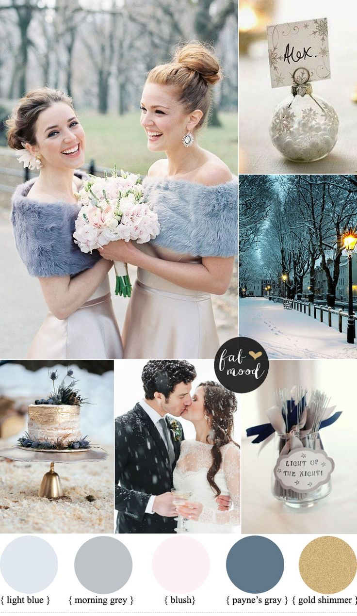 Shades of blue + grey + gold shimmery and payne's gray wedding colour | fabmood.com