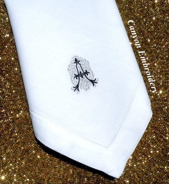 Monogram Dinner Napkin Embroidered Dinner by CanyonEmbroidery #DinnerNapkins #Napkin #EmbroideredDinnnerNapkins