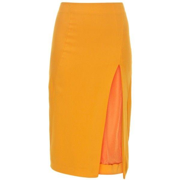 Altuzarra Matisse crepe pencil skirt ($554) ❤ liked on Polyvore featuring skirts, orange, knee length pencil skirt, high-waisted skirts, slit pencil skirt, orange skirt and below knee length pencil skirts