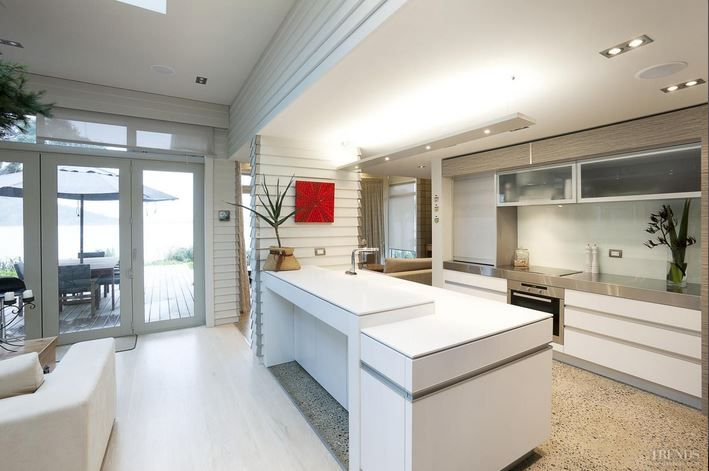 NKBA designer Robin Caudwell of Designer Cabinets in Hamilton won the NKBA Waikato Region award sponsored by Plumbing World. The kitchen, in a coastal bach, features pillars wrapped in weatherboard cladding. The design of the rear cabinetry continues the horizontal feel